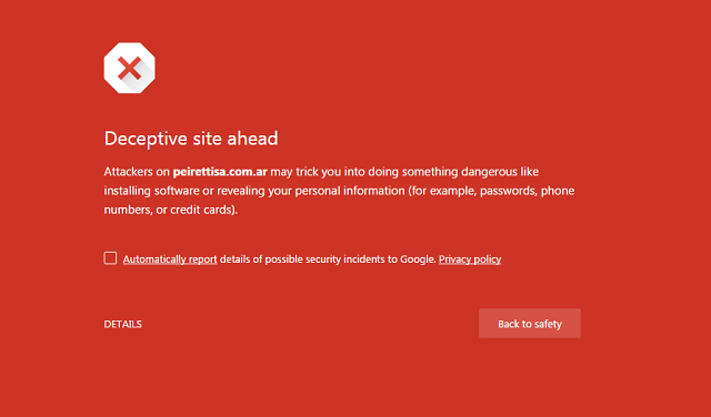 Google Safe Browsing says this is a deceptive site