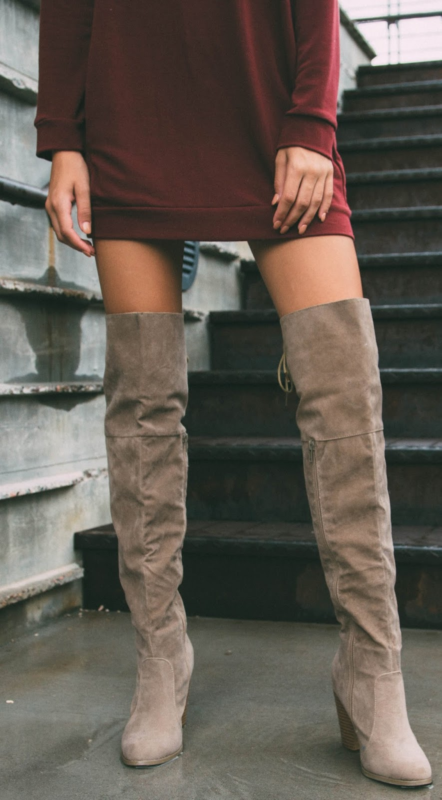 long sweatshirt + nude over the knee boots
