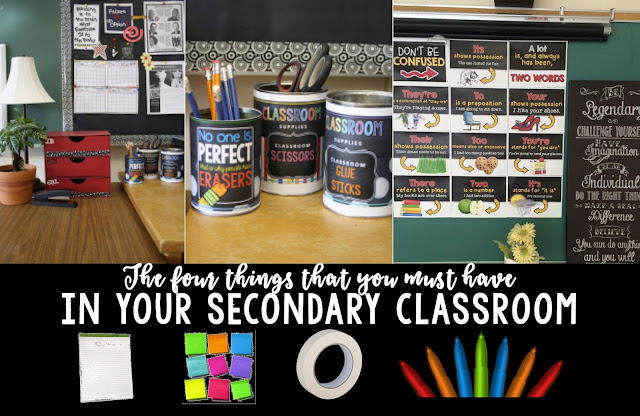 Secondary English teachers: are you organizing your classroom? There's only four things you really need!