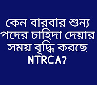 NTRCA এর মাধ্যমে বেসরকারি শিক্ষা প্রতিষ্ঠানের শুন্য পদের চাহিদা গ্রহণ শেষ পর্যায়ে।