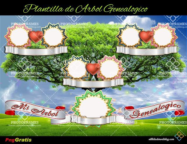 Lindo y sencillo árbol genealógico de tercera generación en png gratis