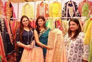 Actress Sangeetha Kamath Stills in Blue Saree at Akritti Elite Exhibition  0027.jpg