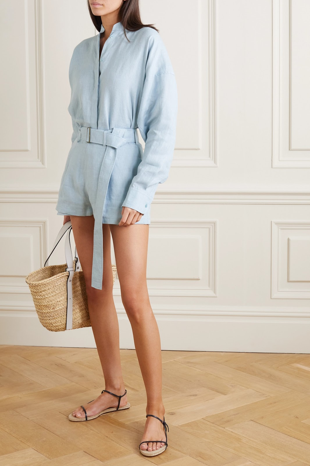 Stylish Sustainable Style — Baby Blue Linen Top and Matching Linen Shorts