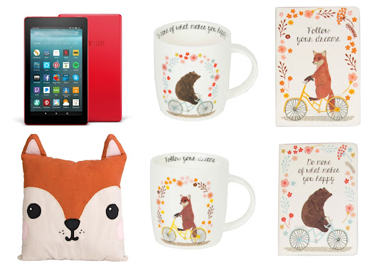 Kindle Fire, Amazon Gift Card & Sass & Belle Mugs, Notebook & Pillow Giveaway