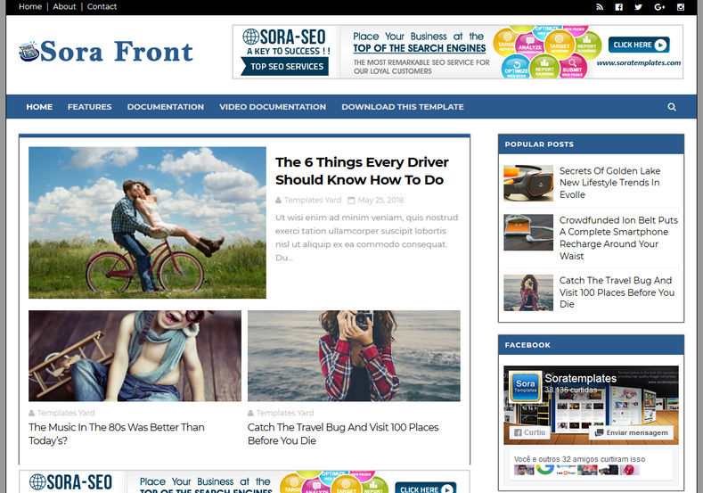 Sora Front | Google AdSense Friendly Blogger Template