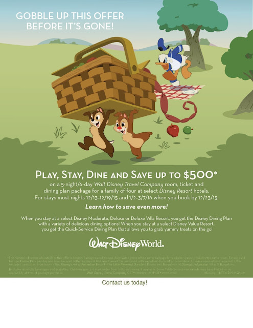 Play, Stay, Dine, and Save up to $500 on Disney World Vacations!