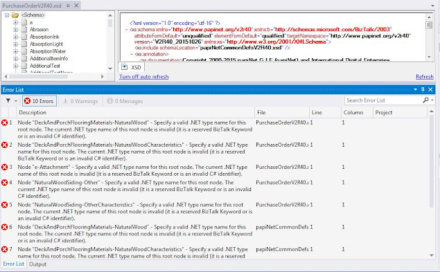 Specify a valid .NET type name for this root node.The current .NET type of this root node is invalid(it is reserved BizTalk Keyword or is an invalid C# identifier)
