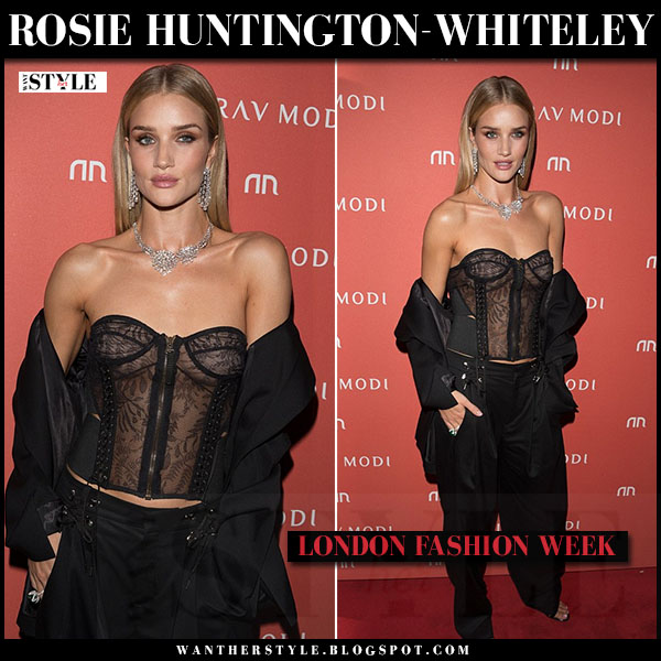 Rosie Huntington-Whiteley in black lace bustier and black pants anthony vaccarello what she wore lfw