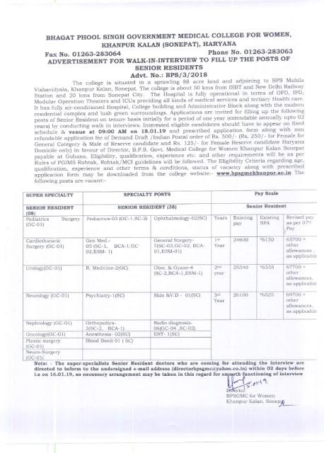 Recruitment of Various post in BPS Govt Medical College for Women, Sonepat, Haryana
