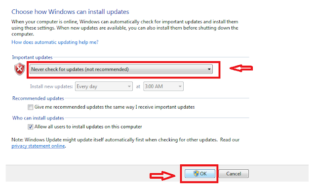 turn off automatic update
