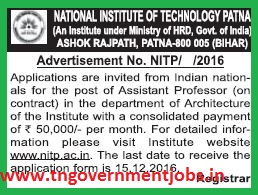 Applications invited for Assistant Professor Post in National Institute of Technology Patna (NIT Patna)