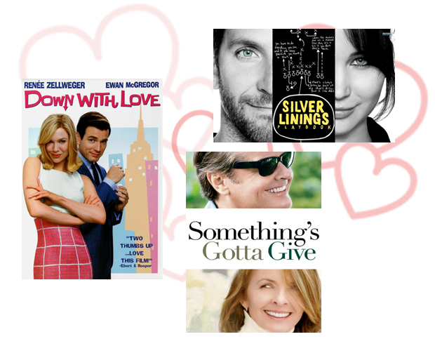 romantic movies to watch on Valentine's Day, what to watch on Valentine's Day, Down with Love, Silver Linings Playbook, Something's Gotta Give, quick review, Poradnik pozytywnego myślenia, Do diabła z miłością, Lepiej późno niż później, komedie romantyczne na Walentynki, co obejrzeć w Walentynki, mądre komedie romantyczne
