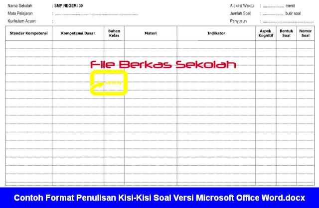 Contoh Format Penulisan Kisi-Kisi Soal Versi Microsoft Office Word.docx