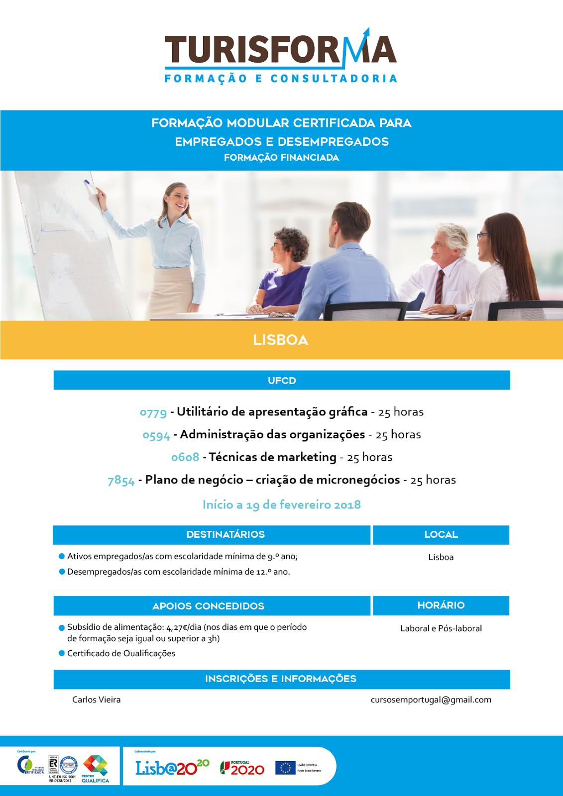 [LISBOA] Inscrições abertas para formações financiadas para empregados e desempregados