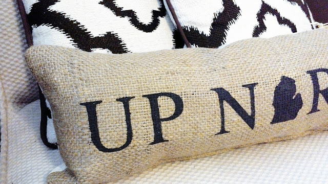 Up North Michigan burlap pillow by Lina and VI plymouth Michigan