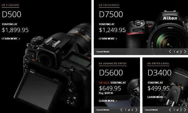 Pembagian Kelas Kamera Nikon untuk sensor DX (sumber dari NikonUSA.Com)