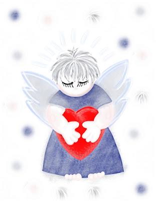 """картинка иллюстрация арт """"сердечный ангел"""" p_i_r_a_n_y_a - ангел держит сердце"""