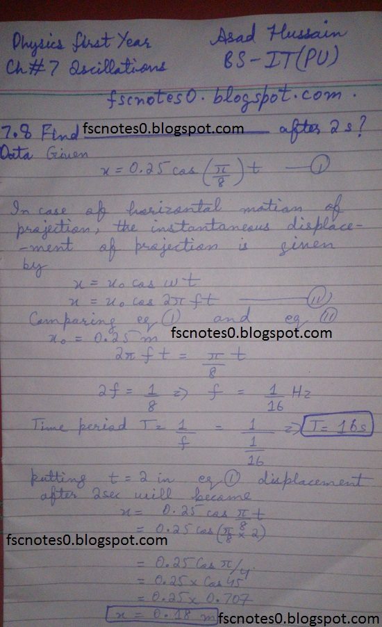 F.Sc ICS Notes: Physics XI: Chapter 7 Oscillations Numerical Problems Asad Hussain 4