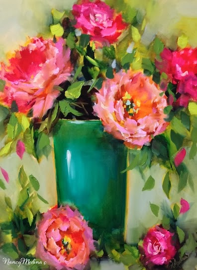 Nancy Medina Art Sold Pinkalicious Peonies And A December Flower Painting Workshop By Floral