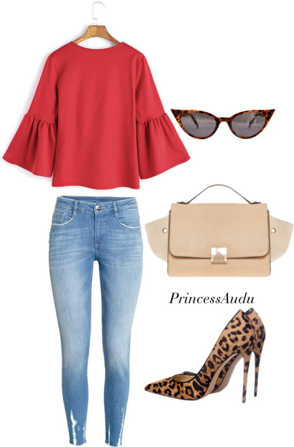 leopard print pumps, styling jeans, trapeze purse