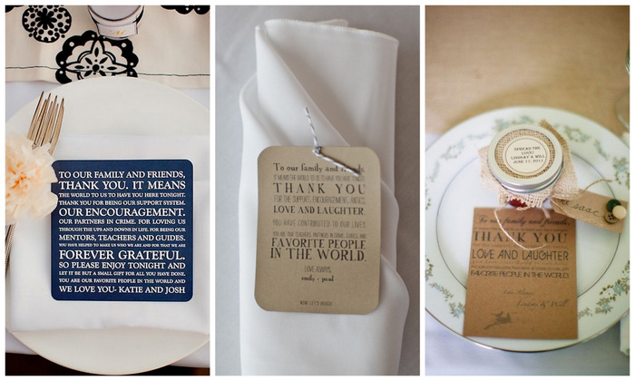 put thank yous at each place setting for your wedding guests | via oh lovely day