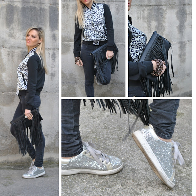 outfit bomber leopardato come abbinare il bomber leopardato abbinamenti bomber leopardato come abbinare il bomber varsity jacket borsa frange sneakers glitter sneakers argento mariafelicia magno fashion blogger colorblock by felym fashion blog italiani fashion blogger italiane ragazze bionde outfit febbraio 2016 outfit invernali winter outfit february outfit blonde girls blonde hair blondie how to wear varsity jacket leopard varsity jacket