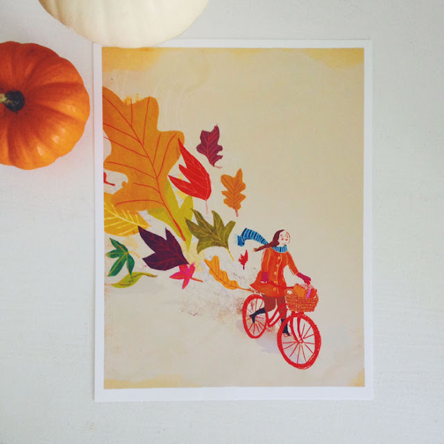 penelope dullaghan, illustrations, autumn, leaves, bicycles