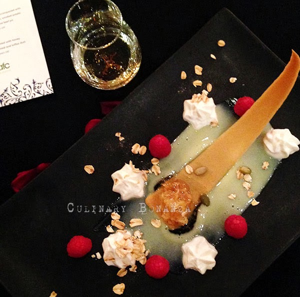 Glenfiddich cream cranachan, complemented with honey, lime-ginger custard, raspberry, toasted oatmeal and toffee dust.