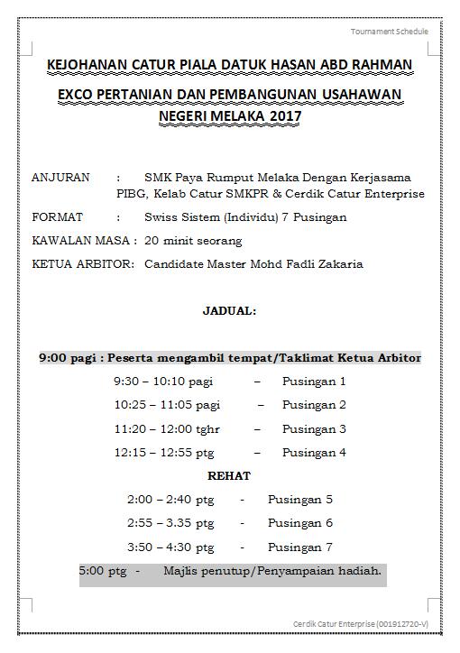 Tentatif Kejohanan Catur Piala Datuk Hasan Abd Rahman- Exco Pertanian dan Pembangunan Usahawan Negeri Melaka 2017