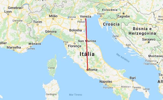 Mapa da viagem de Roma a Veneza