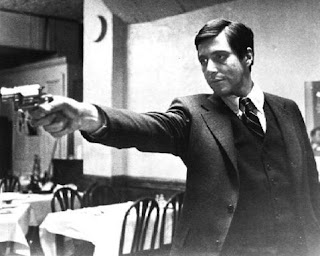 Al Pacino as Michael Corleone, The Famous Restaurant Faceoff Sequence from The Godfather involving Michael Corleone, Sollozzo, and the Police Commissioner of New York,, Directed by Francis Ford Coppola