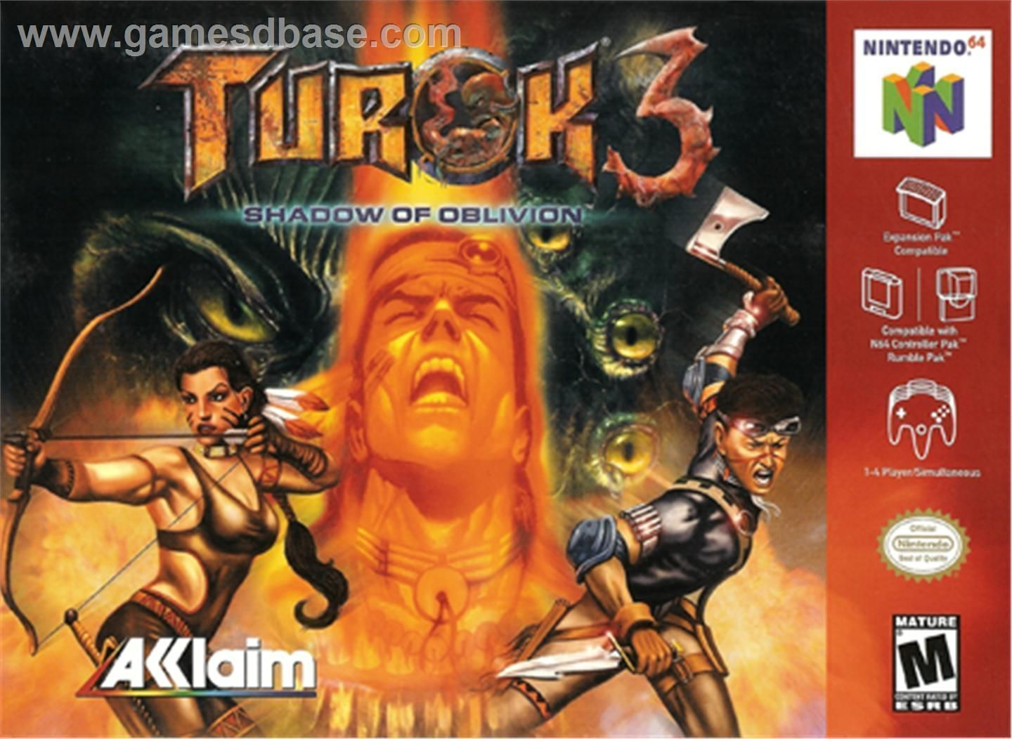 """Turok 3: Shadow of Oblivion""-cover game/top game n64"