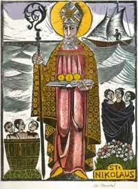 Saint Nicholas with all seven symbols showing