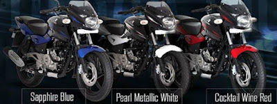 Bajaj Pulsar 150 side view three colours image