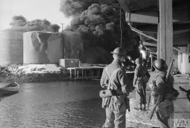 4 March 1941 worldwartwo.filminspector.com Lofoten Islands Operation Claymore burning fish oil tanks