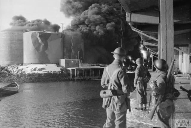 4 March 1941 worldwartwo.filminspector.com Lofoten Islands Operation Claymore burning fish oil tanks