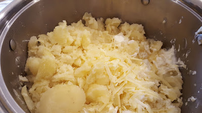 Making Potato Filling for Twice Baked Potatoes