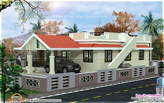 House Plans: Single floor 2 bedroom house elevation