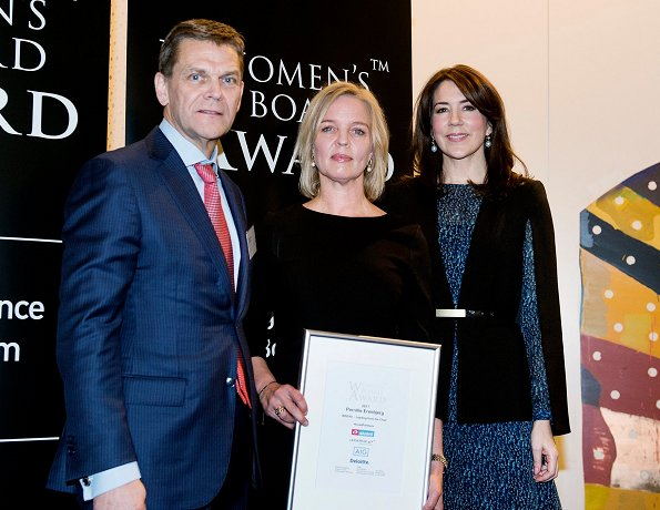 Women's Board Award 2017. Crown Princess Mary wore LK Bennett Bryony Evergreen Silk Dress