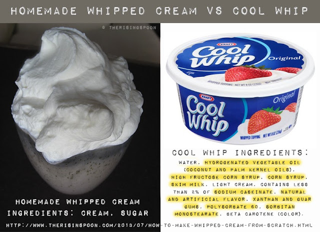 Homemade Whipped Cream vs Cool Whip | www.therisingspoon.com
