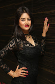 Actress Monica in spicy transparent Black Top at O Pilla Nee Valla Movie Audio Launch Feb 2017 071.JPG