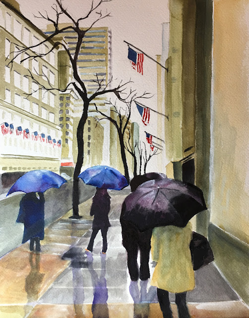RAINY DAY IN NYC ORIGINAL WATERCOLOR PAINTING