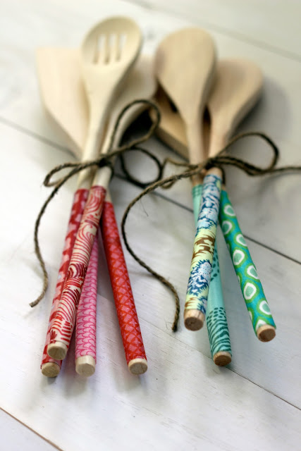 DIY fabric covered wood spoons