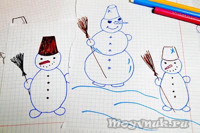Рисуем снеговиков