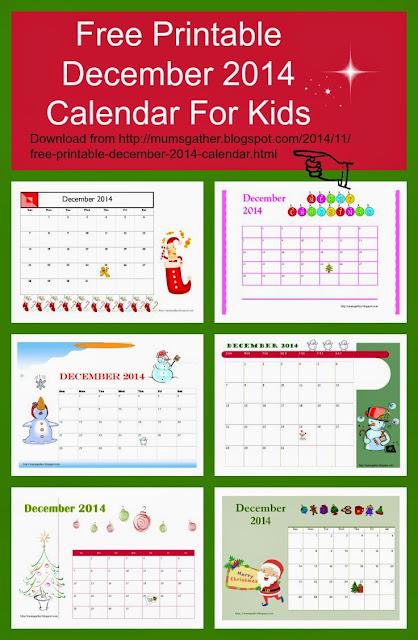 Free Printable December 2014 Calendar For Kids