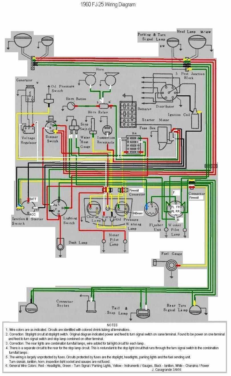Toyota Land Cruiser FJ25 1960 Electrical Wiring Diagram