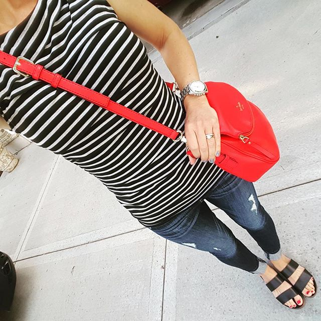 Striped Tank via Marshall's (similar) // Express Distresses Legging Jeans - buy 1 get 1 for $30 // Blowfish Supa Sandals (I found them for only $20 at Marshall's) // Michael Kors Runway Watch - on sale! (very similar for only $20) // Kate Spade Cobble Hill Devin
