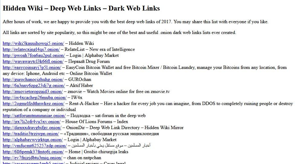 Secrets deep web: Hidden Wiki
