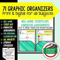 Digital Graphic Organizers, Bell Work, Ticket Out, Formative Assessment, & Print, Differentiate Activities, Bell Work, Bell Ringer Reviews, End of Class Check/Ticket Out, Homework, INTERACTIVE NOTEBOOK INSERTS, Formative Assessments, Social Studies Graphic Organizers, Science Graphic Organizers, English Graphic Organizers, Reading Informational Text