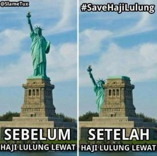 foto meme haji lulung patung new york city